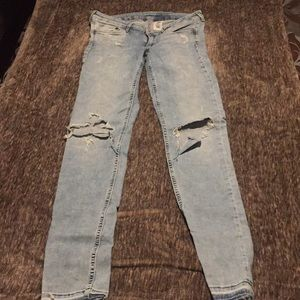 Super Cute, Light Blue, Distressed Stretchy Jeans